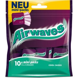 Wrigleys Airwaves Cool Cassis Mini-Packs 10x 4 Dragees