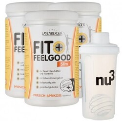 3 x Layenberger Fit+Feelgood Slim + nu3 Shaker, Pfirsich-Aprikose