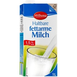 Milbona Haltbare fettarme Milch 1,5% Fett