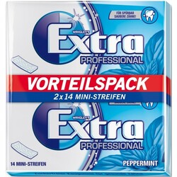 Wrigleys Extra Professional Peppermint Vorteilspack 2x 14 Mini-Streifen