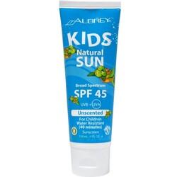 Aubrey Kids Natural Sun SPF 45, Water Resistant, Unscented