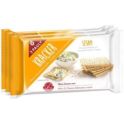 3 Pauly Sesam Kräckers glutenfrei, 3 x 50 g