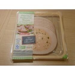 Böklunder Hähnchen-Brühwurst-Roulade mit Putenfleisch und grünem Spargel, frittiert