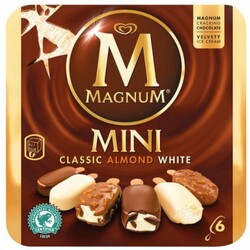"MAGNUM - MINI ""Classic / Almond (Amande) / White""  (6x Stieleis)"