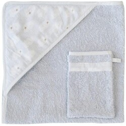 Trixie Clouds Kapuzenbadetuch + Waschhandschuh