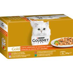 GOURMET Nassfutter für Katzen, Gold Zarte Häppchen mit Gemüse, Multipack 4x85g