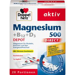 Doppelherz Magnesium 500 +B12 +D3 Direktgranulat 20 St.