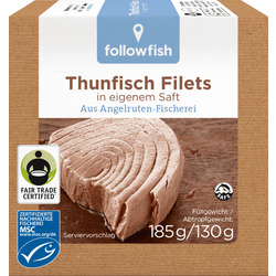 followfish Thunfisch Filets in eigenem Saft, MSC Zertifizierung, Fair Trade, 185g/ 130g