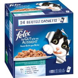 Felix Nassfutter für Katzen, So gut wie es aussieht, Fisch, 24x100g