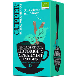 Cupper Süßholz-Tee, liquorice & spearmint mit Minze (20x1,5g)