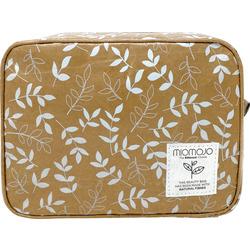 Miomojo Kulturtasche braun mit weißen Blättern
